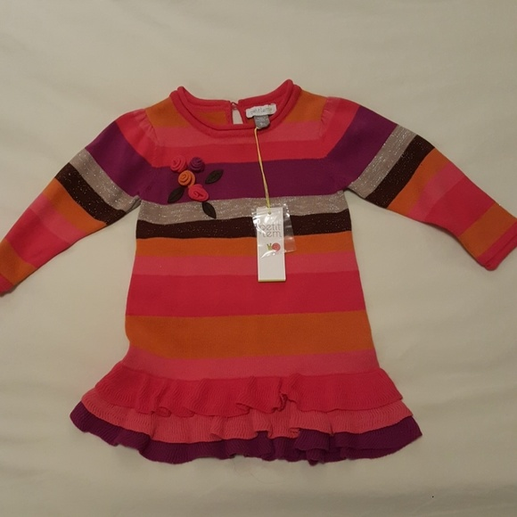 Petit Lem Baby Girls Glitter Sweater Dress and Tights